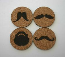 Mustache Beard Etched Cork Coasters Set of 4 Moustache Gift Bar Coasters Drink