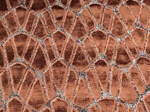 Black Edition Abstract Geometric Velvet Upholstery Fabric- Rombo / Copper 4.0 yd
