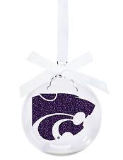 Kansas State University Purple Power Cat Christmas Ornament
