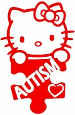 "Autism Decal 4"" Hello Kitty vinyl car window  sticker 13Colors"