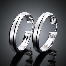 Wholesale 925Sterling Silver Smooth Big Circle Women Hoop Earrings YE595