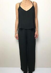 ZARA BASIC black sleeveless long romper playsuit jumpsuit size small