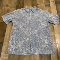 Alfani Adult Mens Large Silk Hawaiian Floral Short Sleeve Button Up Blue Shirt