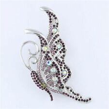 AB Purple Amethyst Rhinestone Crystal Butterfly Brooch Pin B1139