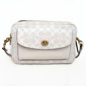 Auth COACH Cathy Camera Bag 640 White Light Gray PVC Leather Shoulder Bag