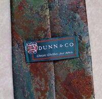 Vintage Tie DUNN & Co Mens Necktie Retro SHIMMERY GREEN GOLD WINE BROWN