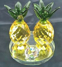 Double Pineapple Yellow Green Crystal 8cm AU Stock