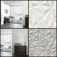 3 D Effect Geometric Wallpaper - Grey White Triangle - Paste The Wall  Erismann