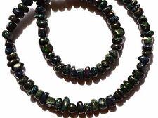 "Super Rare Natural Black Australian Matrix Opal Smooth Unshape Beads Necklace17"""