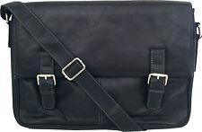 "UNICORN Real Leather 16.4"" Laptop Netbook Ultrabook Messenger Bag - Black #4L"