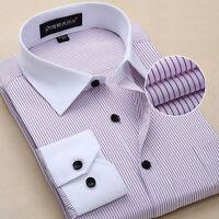 Men's white collar black buckle fringe casual long sleeved shirt 5309