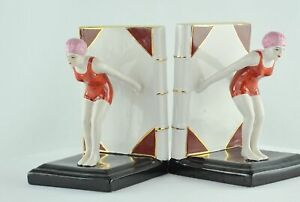 Bookends Bathing Beauty Sexy Diver Art Deco Style Art Nouveau Style Porcelain En