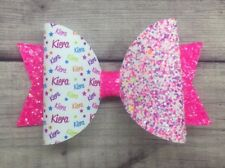 """Any Name Party Glitter Hair Bow - 1 X Personalised Glitter Bow 4"""" Multi Pink"""
