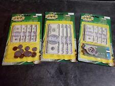Play Money Set Bills Coins Money Clip Bank Cards Set of 3 Kid's Cash Sets