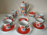 Stunning Vintage 1960/70s COFFEE SET Flower Power Funky Retro Ceramic Red/Blue