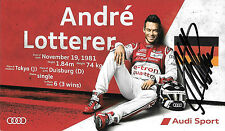 Andre Lotterer SIGNED Official Team Joest Audi, Le Mans Promo Card 2015