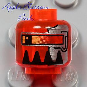 NEW Lego Trans Orange MINIFIG HEAD Space Alien Robot Agents Magma Commander 8971