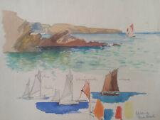 Aquarelle orig Paul Pascal Etude de Voiliers Port Breton Bretagne Atlantique