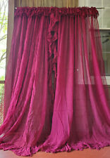Vtg Ruffled Burgundy Wine Red Netting Net Lace Curtains Wide Long Pair 168x84