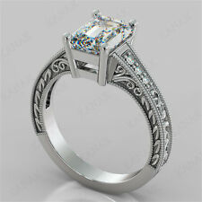 2.25 Ct Diamond Emerald Cut 14k White Gold Vintage Style Engagement Ring