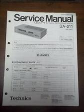 Technics Service Manual for the SA-211 SA-210 Receiver~Repair~Original