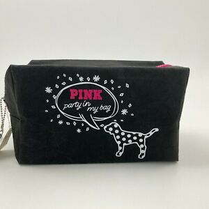 Victoria's Secret PINK Cosmetic Makeup Zipper Bag Travel Case w/Marker Black NWT