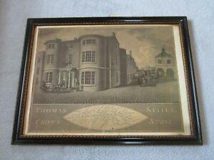 Antique Framed Thomas Styles Crown Stone Staffordshire Coaching Inn Map Stadler