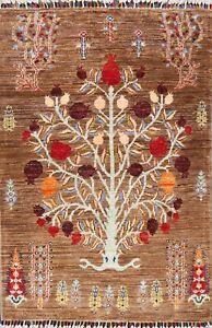 Vegetable Dye Super Kazak Pictorial Tree Oriental Area Rug Wool Hand-knotted 3x4