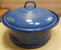"""Vintage Dark Blue and White Graniteware Enamelware Speckled Soup Pot & Lid 10.5"""""""
