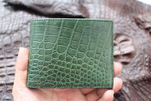 Genuine Alligator Crocodile Leather Skin MEN Bifold Wallet Green Handmade
