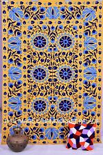 Uzbek Suzani Embroidered Bedcovers Indian Cotton Twin Tapestry Yellow Bedspread