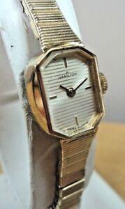 Serviced~Vintage Hamilton 8404 Swiss Gold Plated Swiss Quartz Bracelet Watch