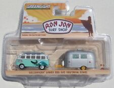 GREENLIGHT RON JON SURF SHOP VOLKSWAGEN SAMBA BUS & AIRSTREAM BAMBI W/ SURFBOARD