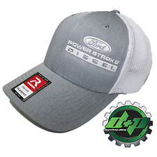 Ford Powerstroke trucker hat richardson Gray Denim White mesh flex fit sm/md