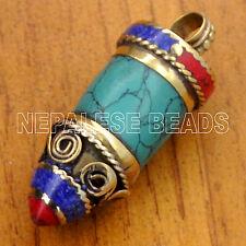 Brass Turquoise Lapis Coral Bullet Pendant Tibetan Nepalese Handmade  UP2872
