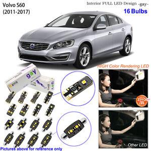 16 Bulbs Deluxe Interior LED Light Kit White Dome Light For 2011-2017 Volvo S60
