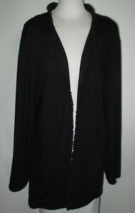 ANCORA by Mary Ann Restivo Women's Black Top Size 3X Long Sleeve Pleated Front