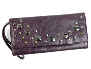 NEW Kenneth Cole Purple Metal Studded Faux Leather Envelope Wallet Wristlet NWT