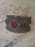 SALE Berber Tribal Vtg  Silver & Enamel Cuff Bracelet w/Red Glass Cabochons
