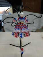 Vintage Patriotic Safety Pin Beaded Victorian Lady Christmas Ornament Handmade