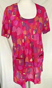Adini 100% cotton voile printed tunic unlined scoop neck short sleeves 2 pockets