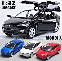 Tesla Model X 90D Sound Light Metal Diecast Model Car Pull Back Vehicle 1/32