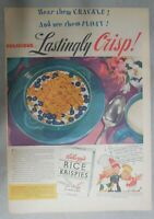 Kellogg's Cereal Ad: Lastingly Crisp ! from 1939 Size: 11 x 15 inches