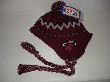 NBA Authentic Miami Heat Pom Pom Beanie Hat Cap New Youth Size 4-7 Adidas