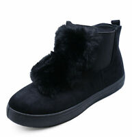 LADIES FLAT BLACK ZIP-UP CHELSEA BIKER ANKLE FUR BOOTS CASUAL COMFY SHOES UK 3-8