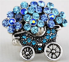 Blue crystal Floats flower stretch ring gifts women'sjewelry HC1 size 6-8