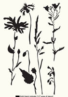 Meadow STENCIL Floral Paint Wall Furniture Cards Reusable Crafts Art FL81
