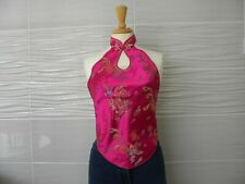 Lady Satin Halter Neck Top Frog Button Embroidered Backless Chinese Dragon Retro
