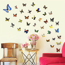 80 Pcs Colorful Butterfly Sticker Art Vinyl Wall Stickers Decals Home Room Decor