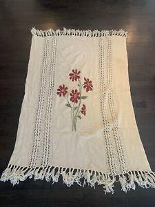 Vintage Crochet 70's Afghan Blanket Fringe Boho Duplicate Stitch Floral